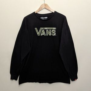 Vans black green camo long sleeve